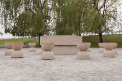 The Table Of Silence is a stone sculpture made by Constantin Brancusi Royalty Free Stock Images
