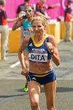 Constantina Dita på den olympiska maratonen Royaltyfri Foto