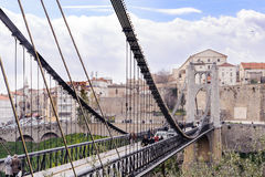 CONSTANTINE, ALGERIA - MARCH 07, 2017:The cliff of near by the suspension bridge or footbridge of Sidi MCid.The geography of the c Stock Photo