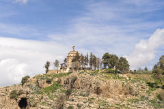 CONSTANTINE, ALGERIA - MARCH 07, 2017:The Monument to the Dead on top of hill overlooking Constantine.Monument near by the suspens Royalty Free Stock Photo