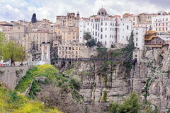 CONSTANTINE, ALGERIA - MARCH 7, 2017: Sidi Rasheed Bridge part of the Rhumel siting high on the rocks with a view of the old city. Stock Image