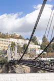 CONSTANTINE, ALGERIA - MARCH 07, 2017: The suspension bridge or footbridge of Sidi M Cid crosses the gorges 175 meters above the c. Liff. Designed by the Royalty Free Stock Photos
