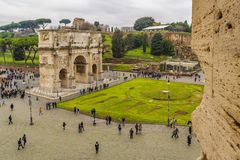 Constantine Arc From Coliseum Point of View. ROME, ITALY, DECEMBER - 2017 - Aerial view of constantine arc conmemoraty building from coliseum point of view Royalty Free Stock Image