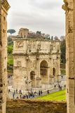 Constantine Arc From Coliseum Point of View. ROME, ITALY, DECEMBER - 2017 - Aerial view of constantine arc conmemoraty building from coliseum point of view Stock Photos