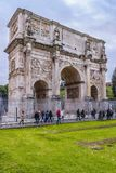 Constantine Arc Perspective View, Rome, Italy. ROME, ITALY, DECEMBER - 2017 - Perspective view of constantine arc conmemoraty building from coliseum point of Stock Photography