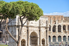 Constantine arc in rome. Constantine arc detail in rome Stock Photo