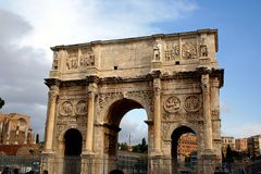 Constantine Arch. Full view of the Constantine Arch in Rome, Italy royalty free stock photos