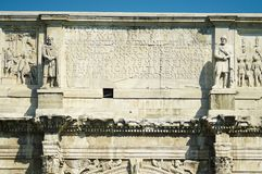 Constantine arch decor. Bas-reliefs and sculptures on the triumphal arch of the Constantine emperor in Rome Royalty Free Stock Photo