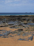 Constantine Bay. Looking along over rocks to the sea –  Constantine Bay, Cornwall, England Stock Photo