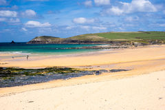 Constantine Bay Cornwall England. The beautiful golden sandy beach at Constantine Bay with Trevose Head in the distance Cornwall England UK Europe Stock Images