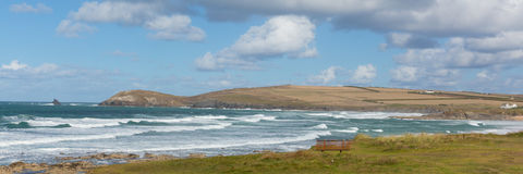 Constantine Bay Cornwall England UK Cornish north coast between Newquay and Padstow panorama Royalty Free Stock Image
