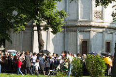 Constantine Brancoveanu procession: people waiting in line. People waiting in line to worship the holy relics of Saint Constatine Brancoveanu. Thousands gathered royalty free stock photography