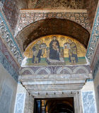 Constantine and Justinian make offerings to Virgin Mary Royalty Free Stock Image