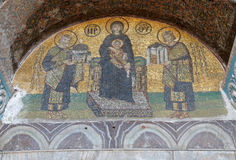 Constantine and Justinian make offerings to Virgin Mary Stock Image