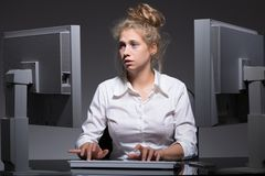 Constantly working woman. Photo of burnout constantly working woman with mental problem stock photo