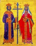 Constatine Helena ikony Złoty święty George Kościelny Madaba Jordania obrazy royalty free