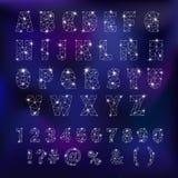 Constelação alfabética da fonte de ABC do alfabeto com letras da ilustração alfabética astromomy da tipografia das estrelas ilustração stock