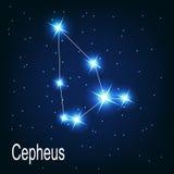 A constelação Cepheus protagoniza no céu noturno. ilustração royalty free