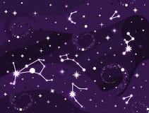 Constelação da galáxia Espace o fundo com estrelas, constelações, buraco negro, nebulosa Stardust e estrelas de brilho ilustração stock