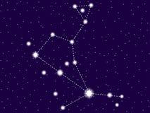 Constelação do Bootes C?u nocturno estrelado Objetos do espaço, galáxia Vetor ilustração do vetor