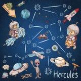 Constelação do espaço com as ilustrações de cor de name_17_and em um tema científico e fantástico ilustração royalty free