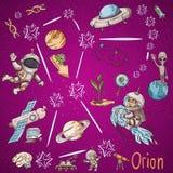 Constelação do espaço com as ilustrações de cor de name_6_and em um tema científico e fantástico ilustração royalty free
