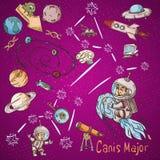 Constelação do espaço com as ilustrações de cor de name_7_and em um tema científico e fantástico ilustração do vetor