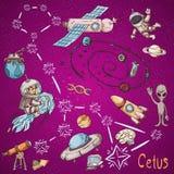 Constelação do espaço com as ilustrações de cor de name_8_and em um tema científico e fantástico ilustração do vetor