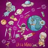 Constelação do espaço com as ilustrações de cor de name_9_and em um tema científico e fantástico ilustração stock
