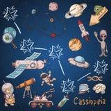 Constelação do espaço com as ilustrações de cor de name_16_and em um tema científico e fantástico ilustração royalty free