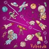Constelação do espaço com as ilustrações de cor de name_1_and em um tema científico e fantástico ilustração royalty free