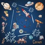 Constelação do espaço com as ilustrações de cor de name_11_and em um tema científico e fantástico ilustração stock
