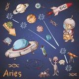 Constelação do espaço com as ilustrações de cor de name_25_and em um tema científico e fantástico ilustração do vetor