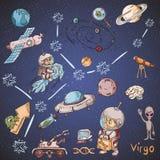 Constelação do espaço com as ilustrações de cor de name_28_and em um tema científico e fantástico ilustração royalty free