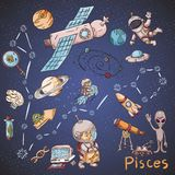 Constelação do espaço com as ilustrações de cor de name_30_and em um tema científico e fantástico ilustração stock