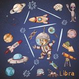 Constelação do espaço com as ilustrações de cor de name_29_and em um tema científico e fantástico ilustração royalty free
