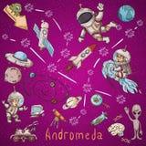 Constelação do espaço com as ilustrações de cor de name_2_and em um tema científico e fantástico ilustração do vetor