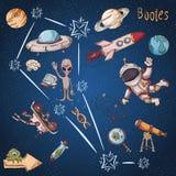 Constelação do espaço com as ilustrações de cor de name_21_and em um tema científico e fantástico ilustração stock