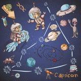 Constelação do espaço com as ilustrações de cor de name_32_and em um tema científico e fantástico ilustração royalty free