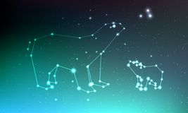 Constelação do major de Ursa e do menor de ursa no céu noturno com luzes, estrelas Ursa no céu, na linha e em brilhante profundos ilustração do vetor