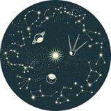 Constelação do zodíaco com planetas Foto de Stock Royalty Free