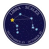 Constelação do zodíaco da Libra no espaço Vetor bonito do estilo dos desenhos animados Fotografia de Stock Royalty Free