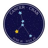 Constelação do zodíaco do câncer no espaço Vetor bonito do estilo dos desenhos animados Imagens de Stock