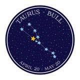 Constelação do zodíaco do Touro no espaço Vetor bonito do estilo dos desenhos animados Imagem de Stock Royalty Free