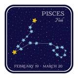 Constelação do zodíaco dos Peixes no quadro quadrado ilustração do vetor