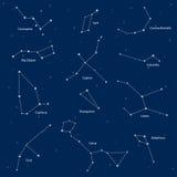 Constelações: cassiopeia, dipper grande, cepheus, lyra, grus, cyg Foto de Stock