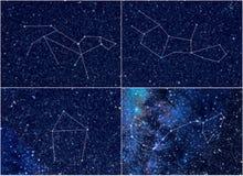 Constelações Leo Virgo Libra Scorpio do zodíaco Fotos de Stock Royalty Free