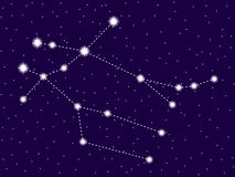 Constela??o dos G?meos C?u nocturno estrelado Objetos do espaço, galáxia Vetor ilustração stock