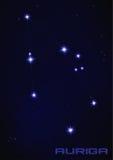 Constelación de la estrella del auriga Foto de archivo