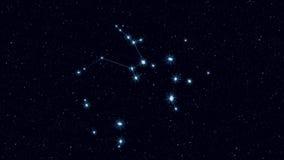 Constelación del sagitario, imagen giratoria gradualmente de enfoque con las estrellas y esquemas stock de ilustración